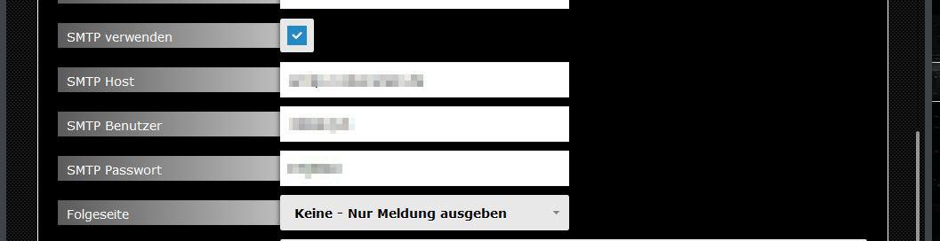 Abb. 5: Formular konfigurieren - SMTP-Einstellungen
