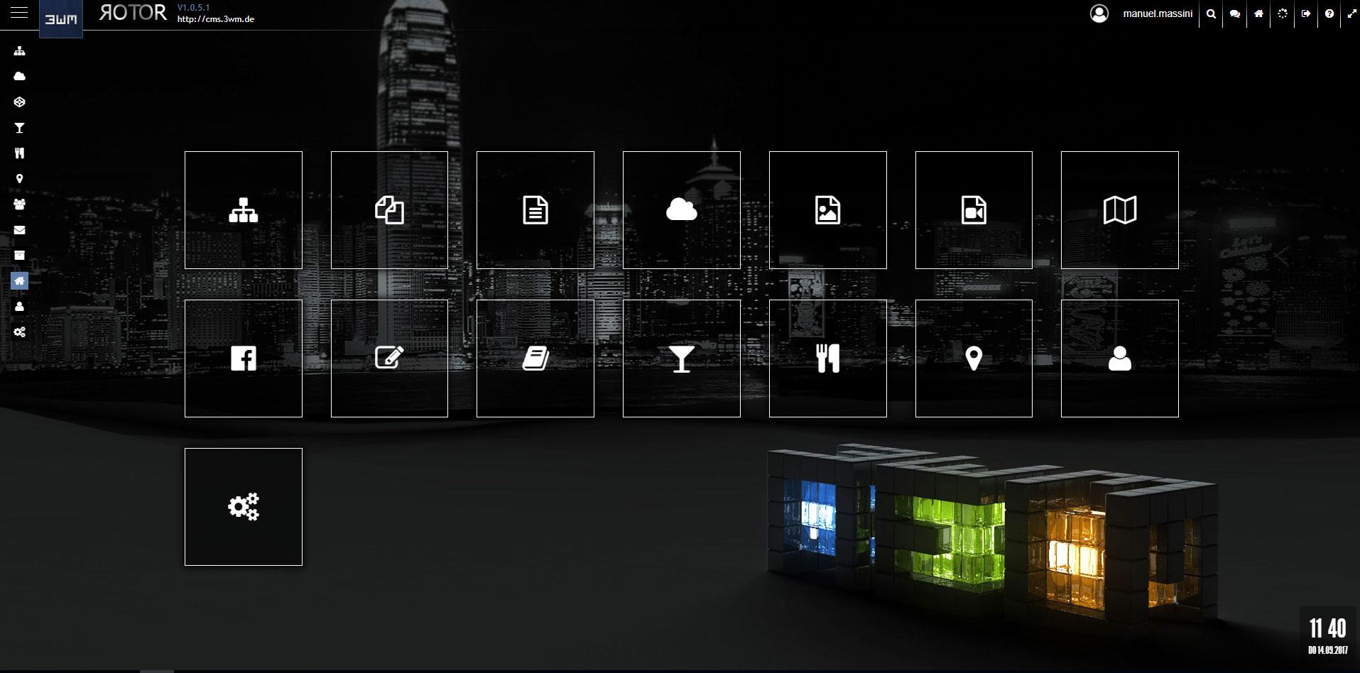 Abb. 1: Startseite mit Navigations-Icons, Navigation im CMS
