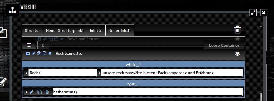 Abb. 3: Webseiten-Struktur mit Icons zum Bearbeiten des Inhalts